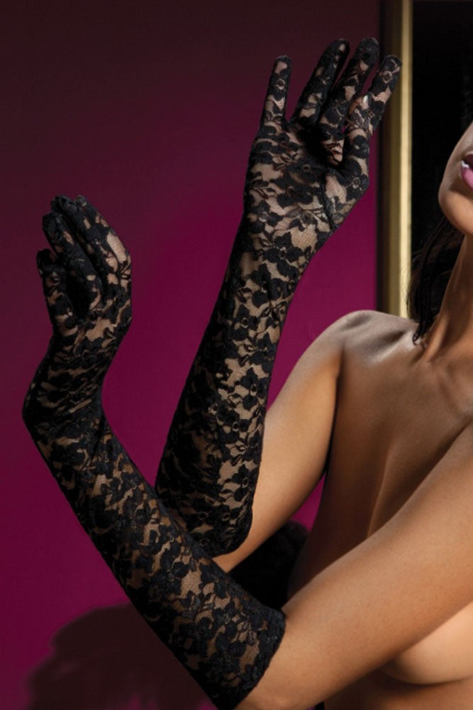 Black Lace Elbow Gloves