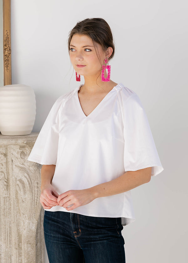 HOLLY BELL-SLEEVE TOP WHITE