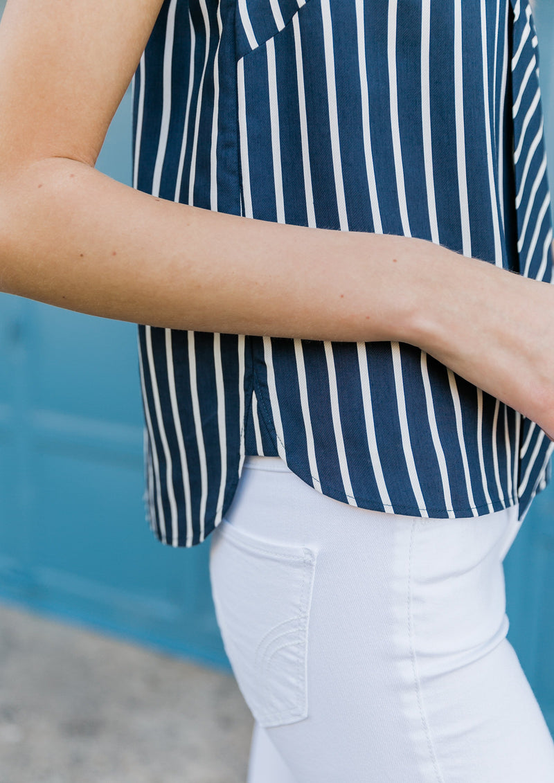 NICOLE TOP - NAVY STRIPED SHIRTING
