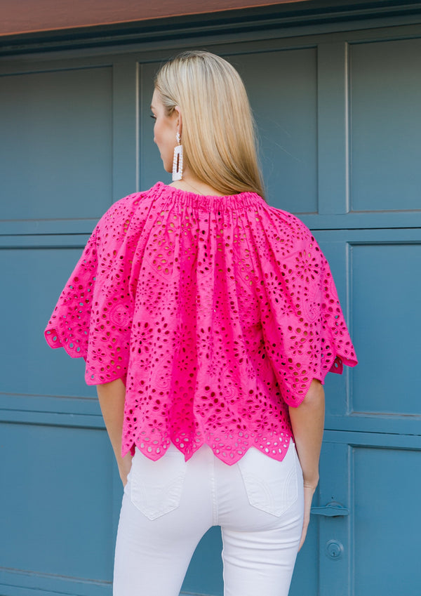 HOLLY TOP - MAGENTA EYELET