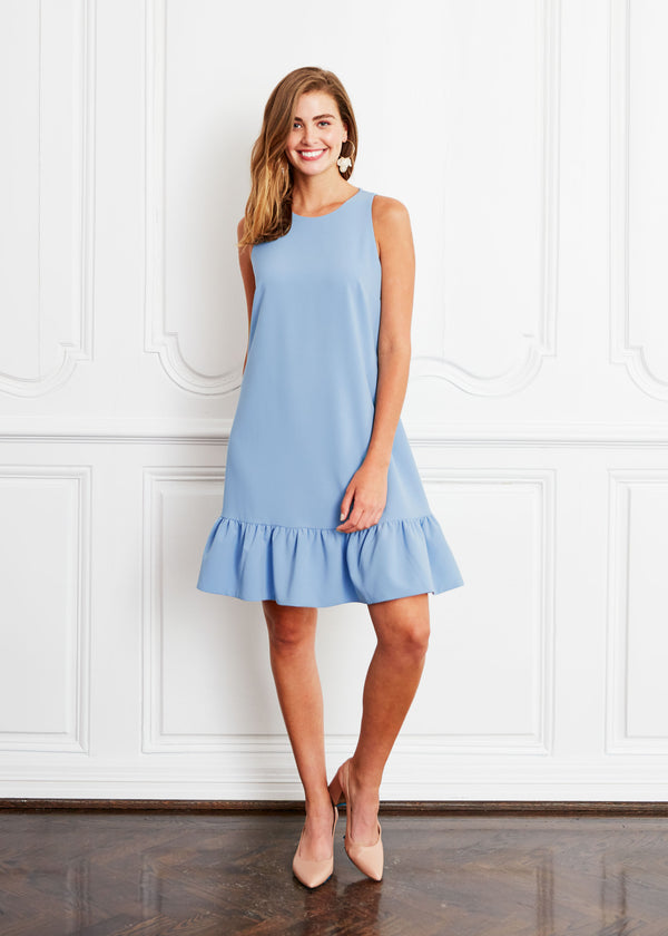 LYDIA RUFFLE DRESS BLUE