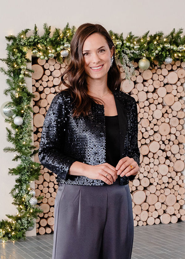 BAILEY CROPPED JACKET BLACK SEQUIN