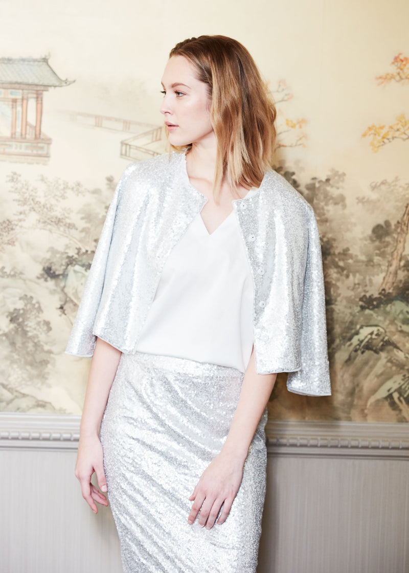 BAILEY JACKET - SILVER SEQUINS