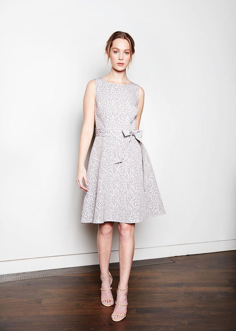 ALISON DRESS - PEBBLE JACQUARD