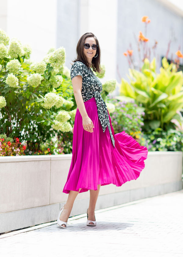 BEVERLY SKIRT - FUCHSIA SOFT SATIN