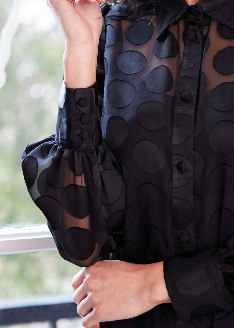 ELLEN BLOUSE - BLACK DOT