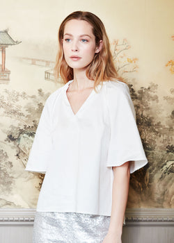 HOLLY TOP - WHITE SATEEN