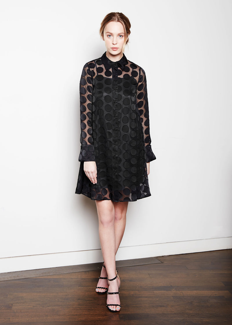 MEGHAN DRESS - BLACK DOT
