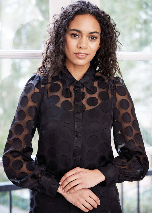 ELLEN SHEER DOTTED BLOUSE BLACK
