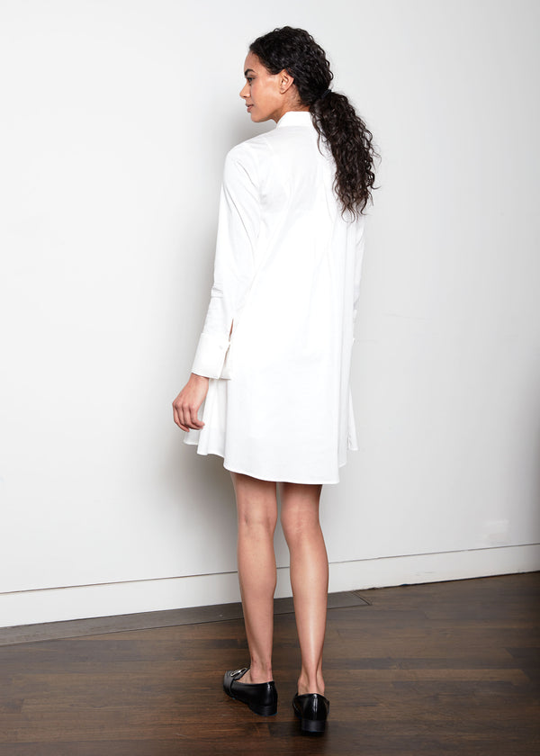 MEGHAN DRESS - WHITE SATEEN