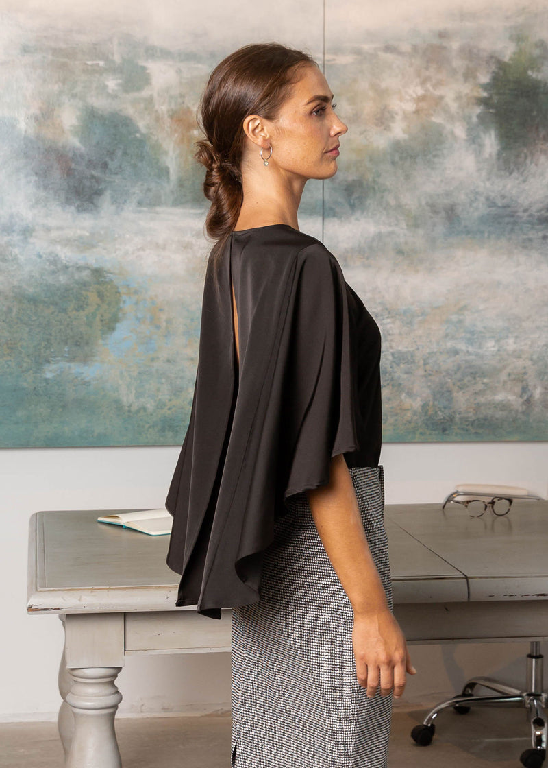 ADELE CAPE SLEEVE TOP CINDER