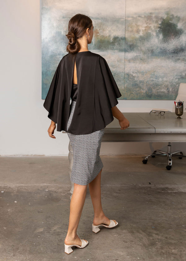 ADELE CAPE SLEEVE TOP BLACK