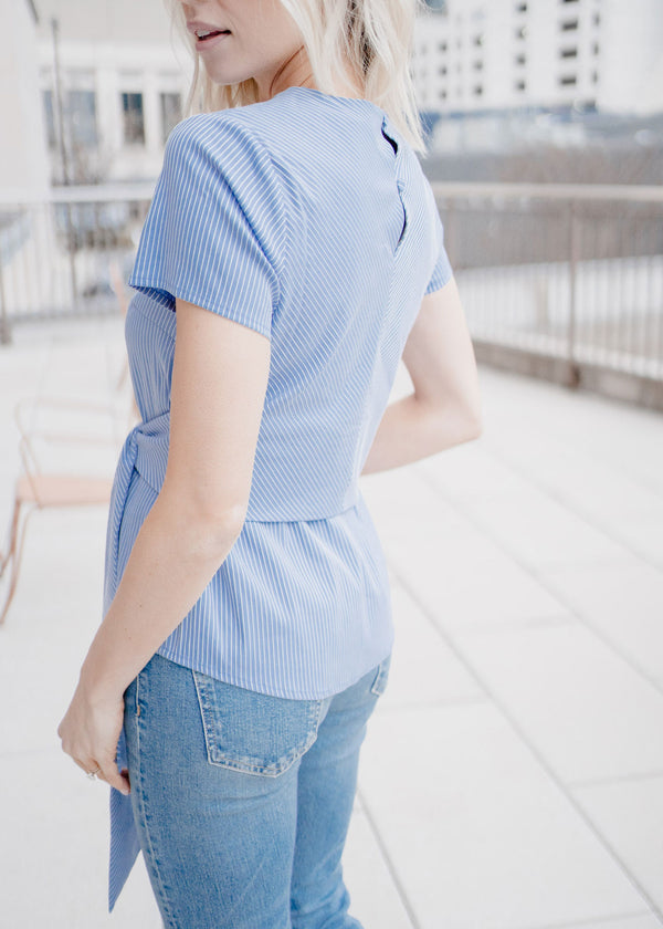 CARDIN TOP - BLUEBELL STRIPED SHIRTING