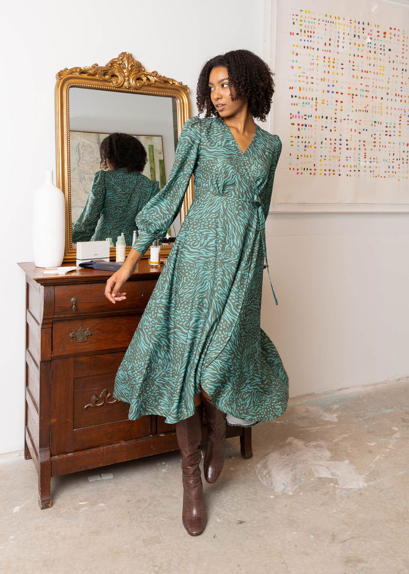 DIANE WRAP DRESS JADE