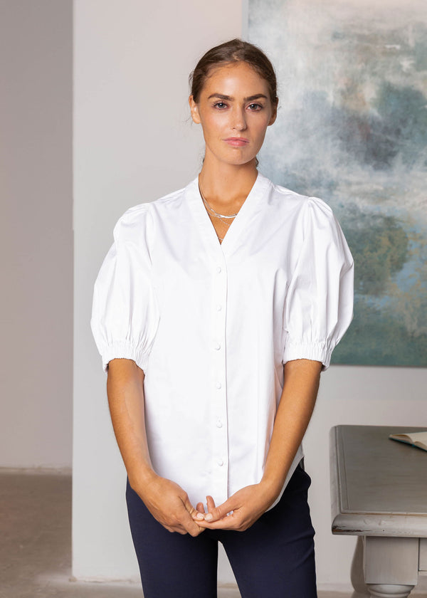 ELLEN V-NECK BLOUSE WHITE
