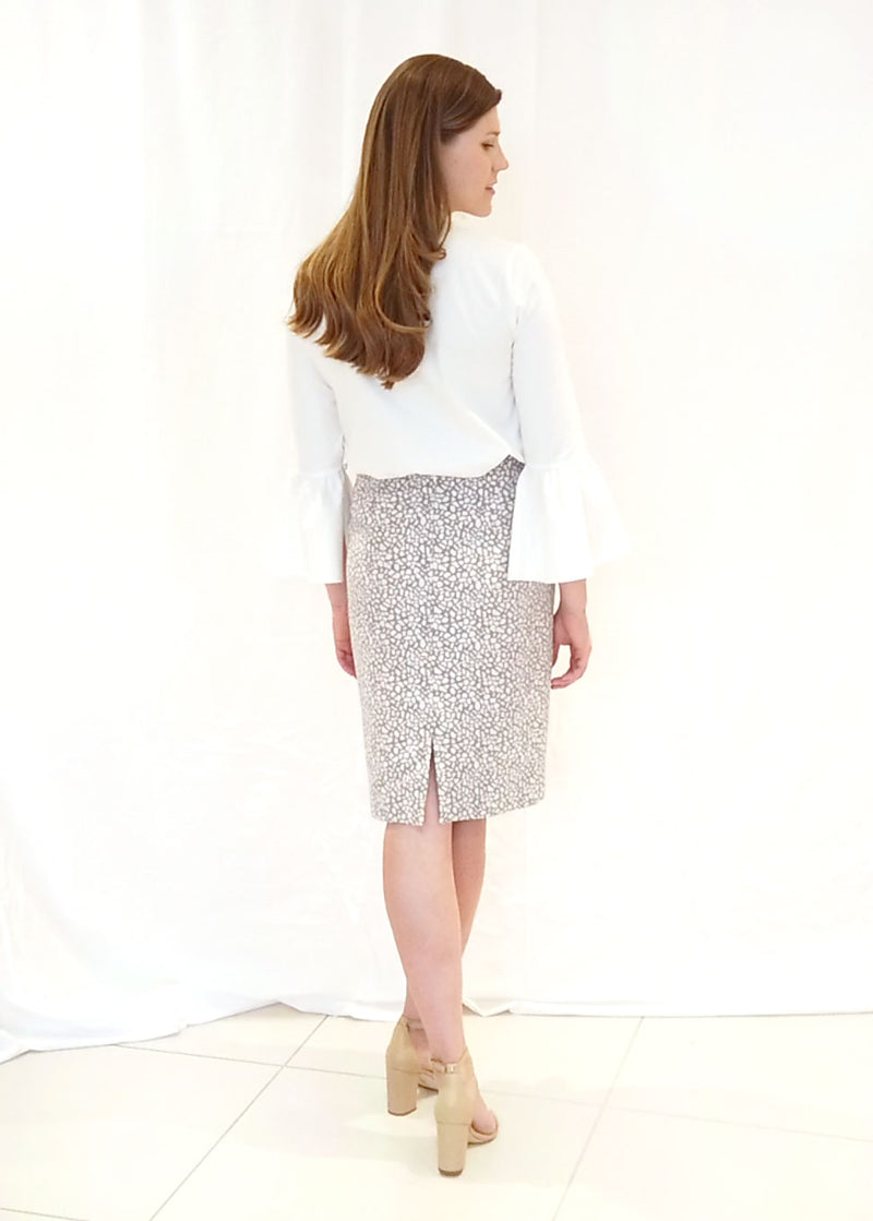 BRITT SKIRT - PEBBLE JACQUARD