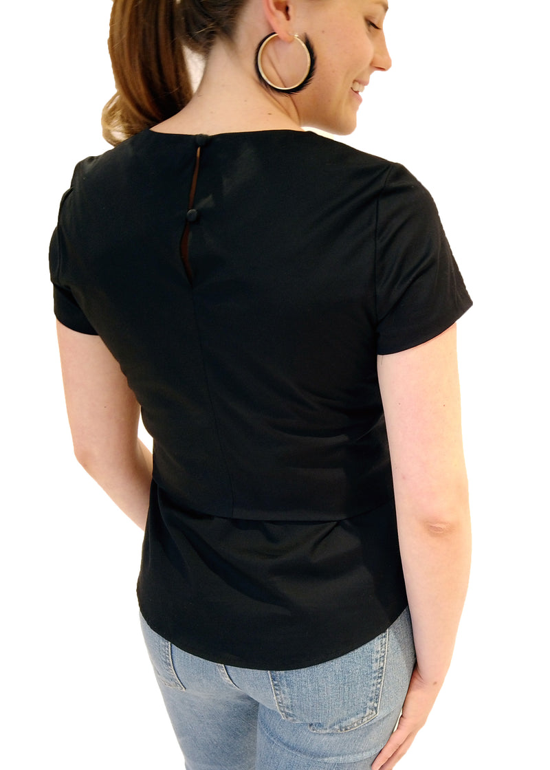 CARDIN TOP - BLACK SATEEN