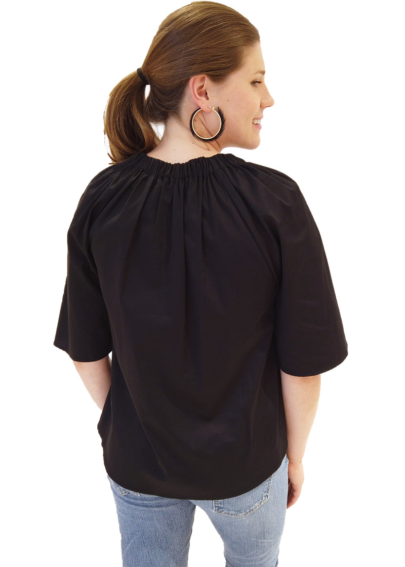 HOLLY TOP - BLACK SATEEN