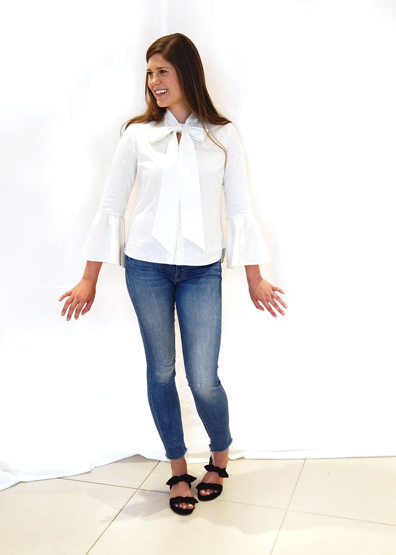 NICOLE TOP - WHITE SATEEN