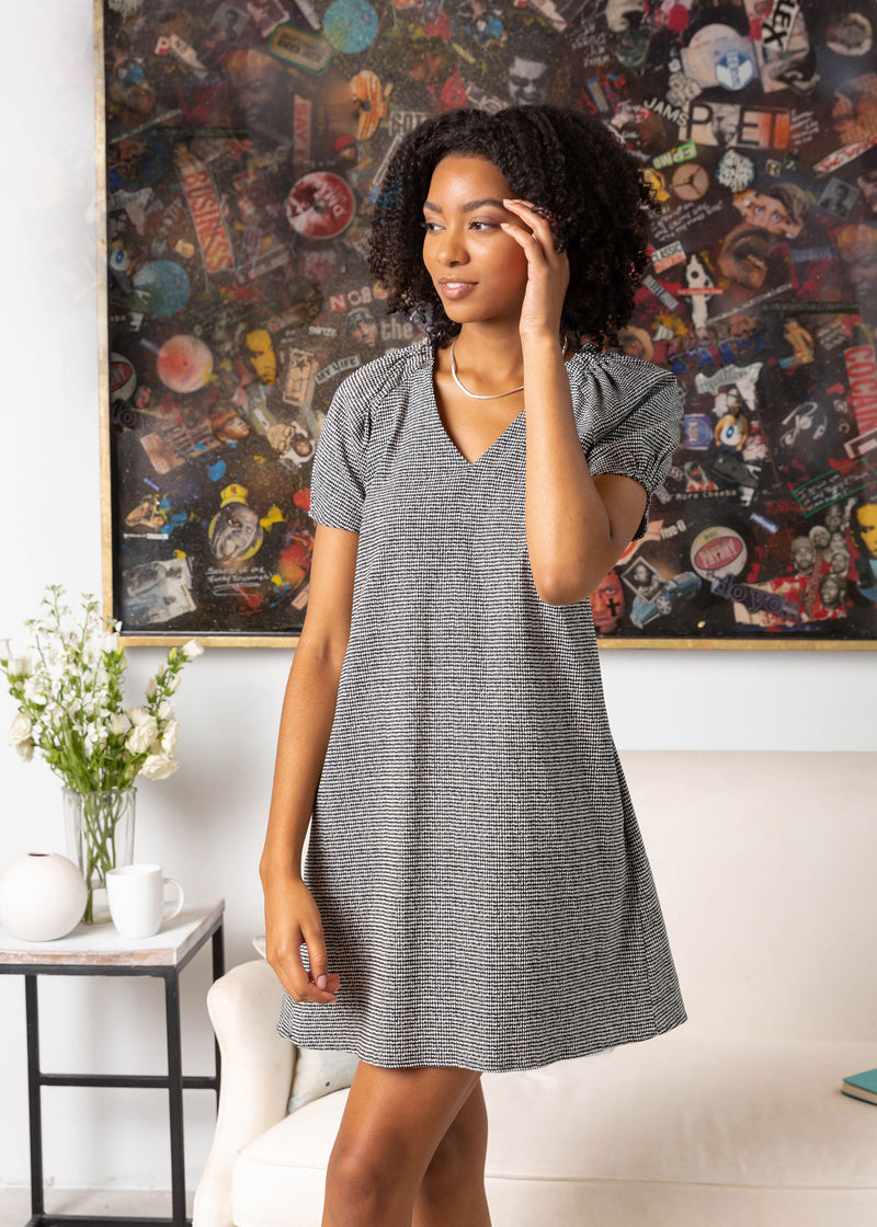 HELEN A-LINE DRESS HOUNDSTOOTH