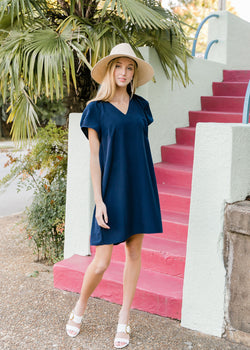 HELEN DRESS - NAVY SILKY FAILLE