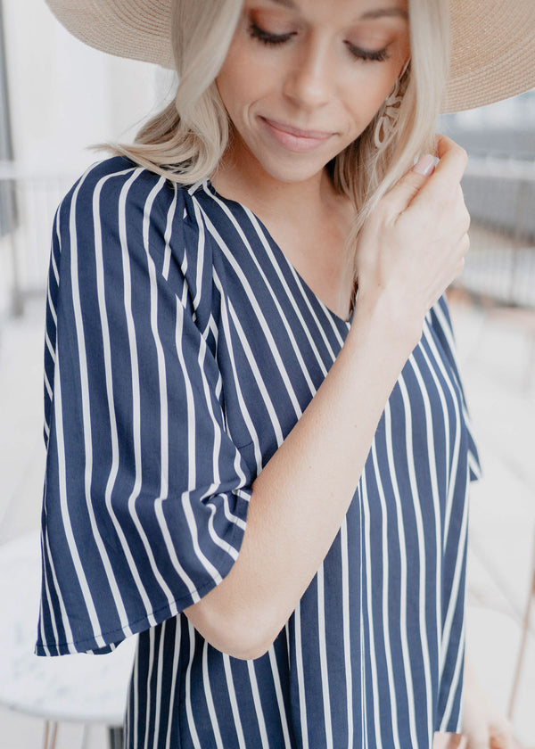 HOLLY BELL SLEEVE TOP  NAVY STRIPE