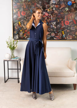 LARA MAXI SHIRTDRESS NAVY