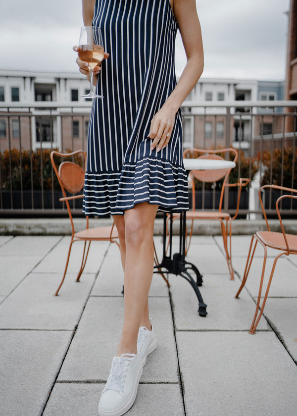 LYDIA RUFFLE DRESS NAVY STRIPED