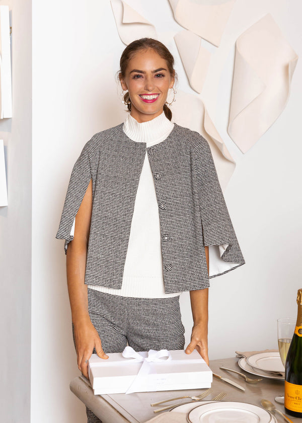 SAM CAPE JACKET HOUNDSTOOTH