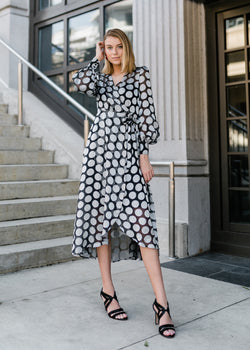 DIANE  DRESS - SILVER POLKA DOT