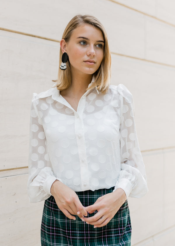 ELLEN SHEER DOTTED BLOUSE WHITE