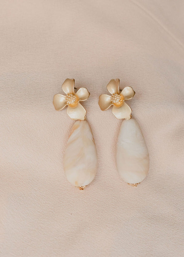 Gold Flower Teardrop Bead Earrings