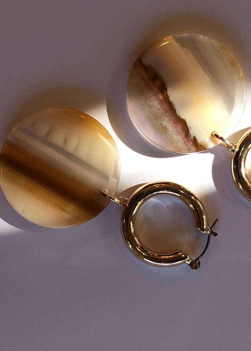 Gold Hoops with Acrylic Bead