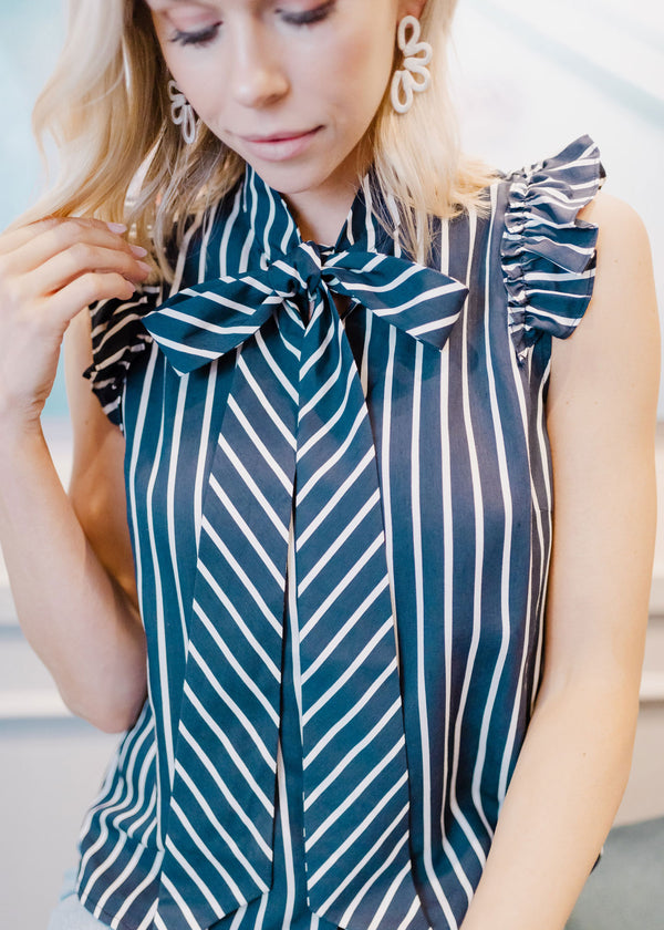 NICOLE TIE NECK BLOUSE NAVY STRIPE