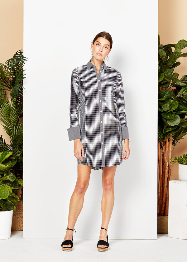 MEGHAN SHIRT DRESS - BLACK/WHITE