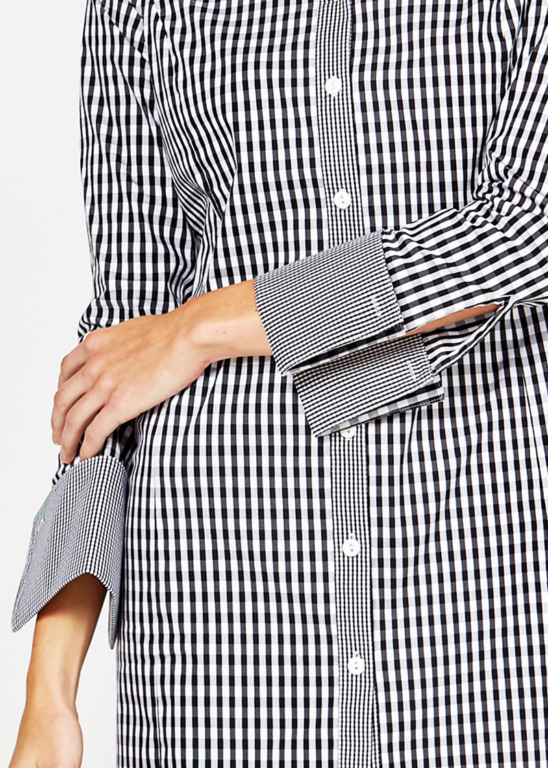 MEGHAN SHIRT DRESS - BLACK / WHITE