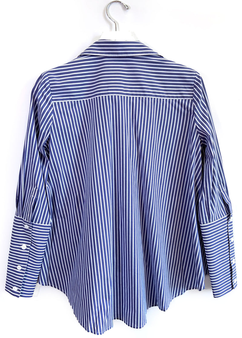 ARI BLOUSE - BLUE / WHITE