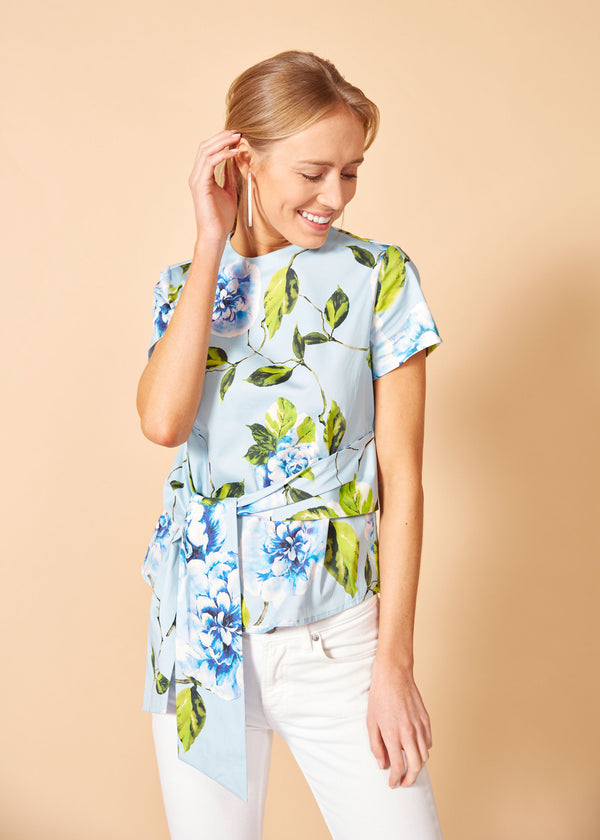CARDIN TOP - BLUE FLORAL