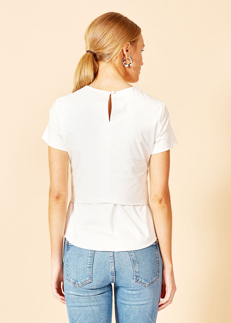 CARDIN TOP - WHITE SATEEN
