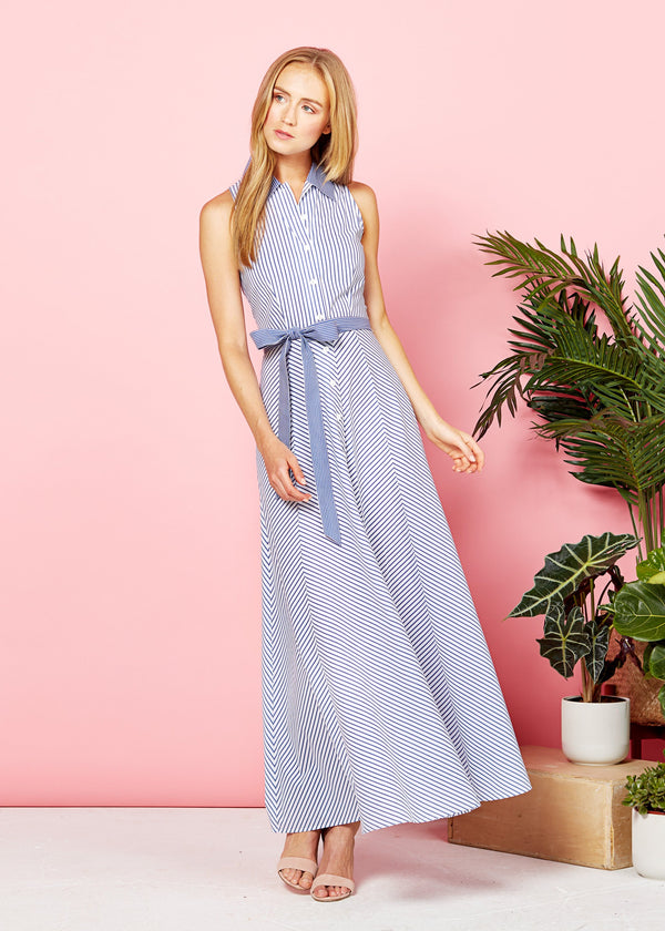 LARA MAXI DRESS - BLUE / WHITE