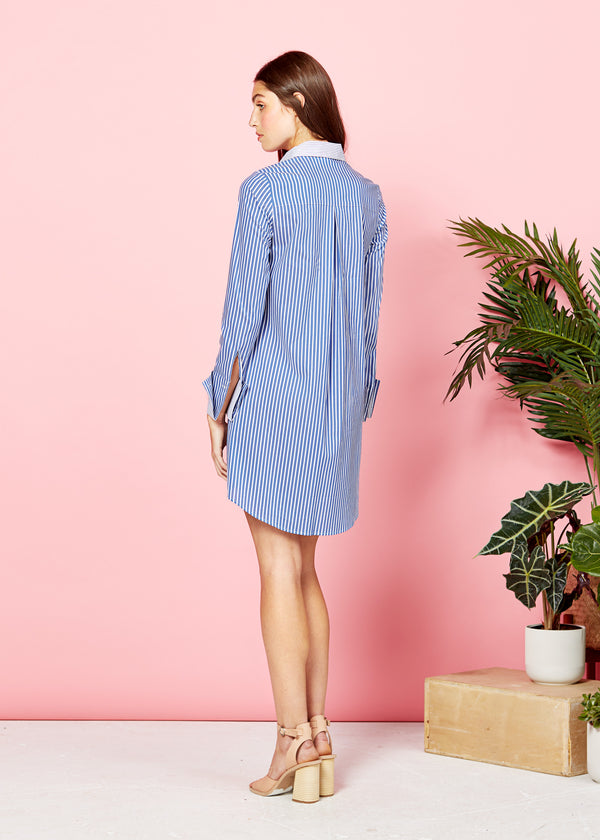 MEGHAN SHIRT DRESS - BLUE / WHITE