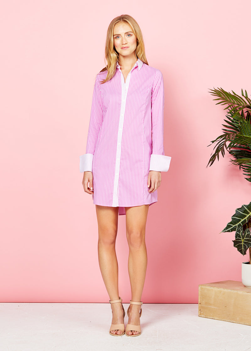 MEGHAN SHIRT DRESS - PINK / WHITE