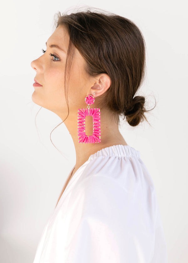 Wrapped Rectangle Earrings