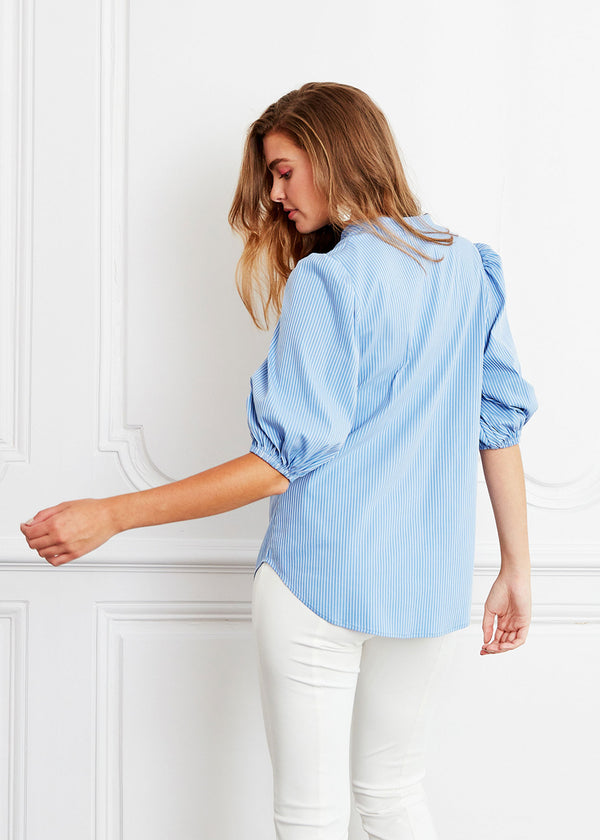 ELLEN BLOUSE - BLUEBELL STRIPED SHIRTING