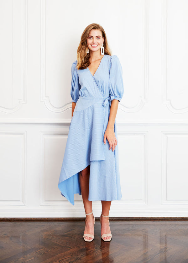 DIANE DRESS - BLUEBELL STRIPED SHIRTING