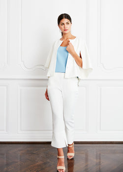 SAM CAPE - WHITE STRETCH PONTE