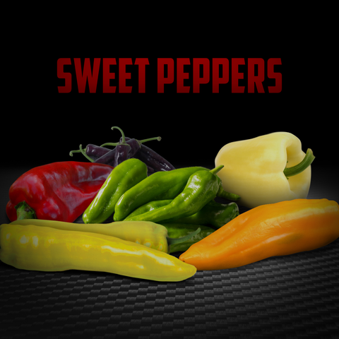 we carry many sweet pepper types of sweet peppers, and you can even put roasted sweet peppers in your meals!