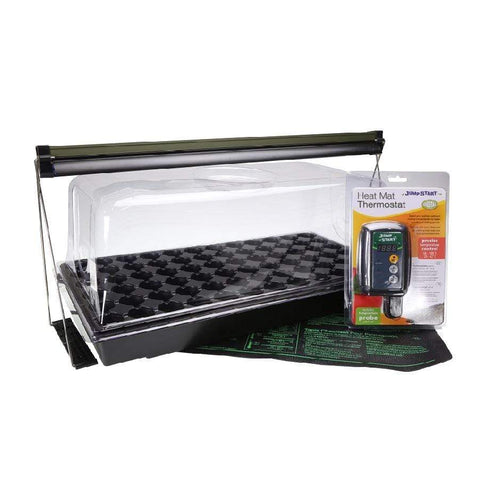 indoor grow kit or an indoor garden heat that comes with a heat pad, light source, thermometer, and more