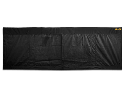 straight on view of front of large black canvas grow tent with doors and exhaust ducts, 20' wide by 10' deep by 7' tall