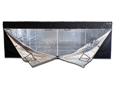 large black canvas grow tent with two front doors unzipped, showing reflective interior